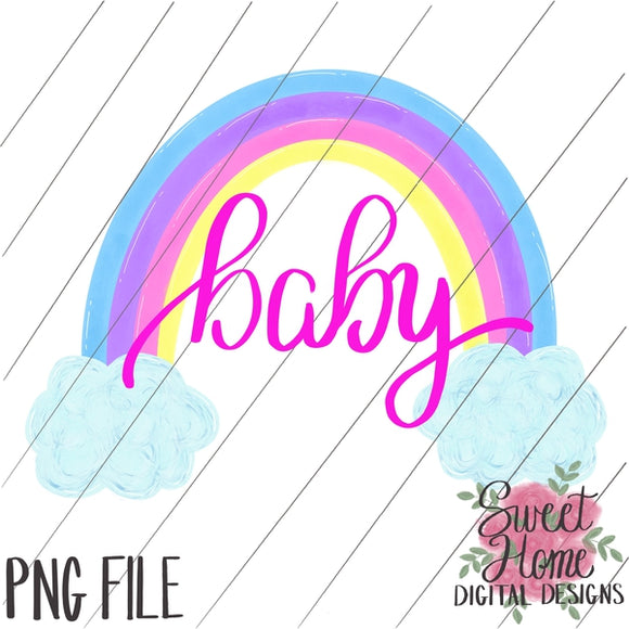 Rainbow Baby with Clouds Pastel Colors PNG Printable