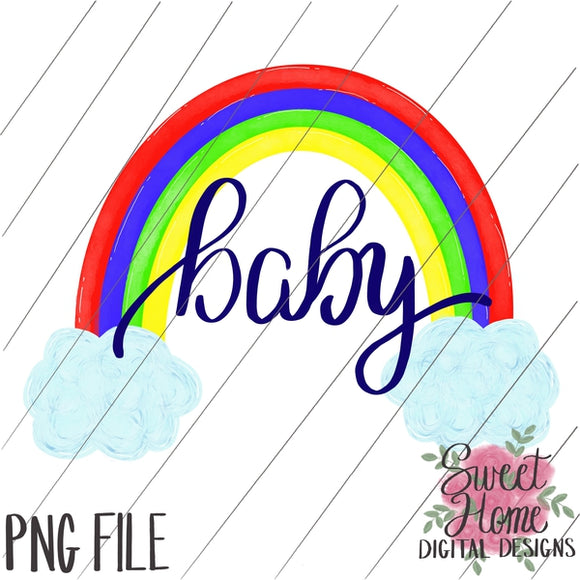 Rainbow Baby with Clouds Primary Colors PNG Printable, Printable