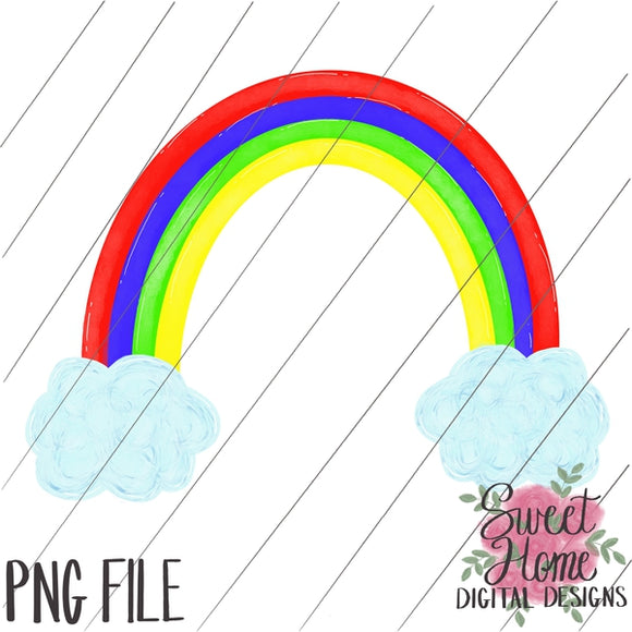 Rainbow with Clouds Primary Colors PNG Printable, Printable