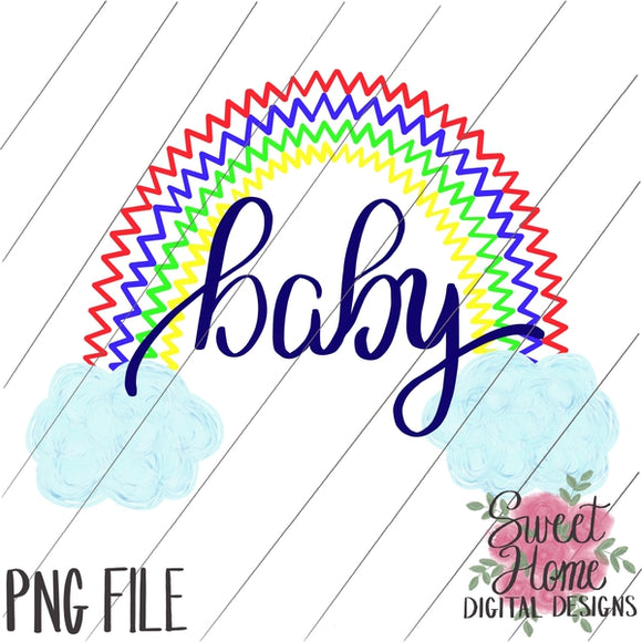 Rainbow Baby Zig Zag with Clouds Primary Colors PNG Printable, Printable