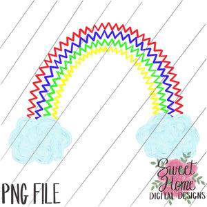 Rainbow Zig Zag with Clouds Primary Colors PNG Printable