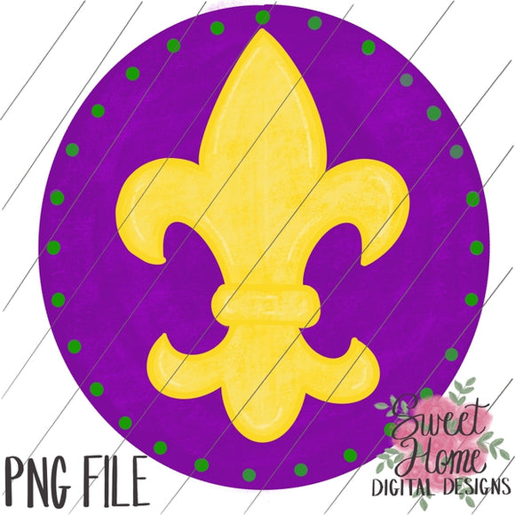 Mardi Gras Fleur De Lis with Background PNG Printable