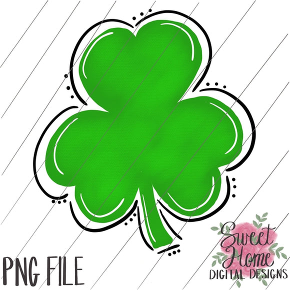 Whimsical Watercolor Shamrock PNG Printable