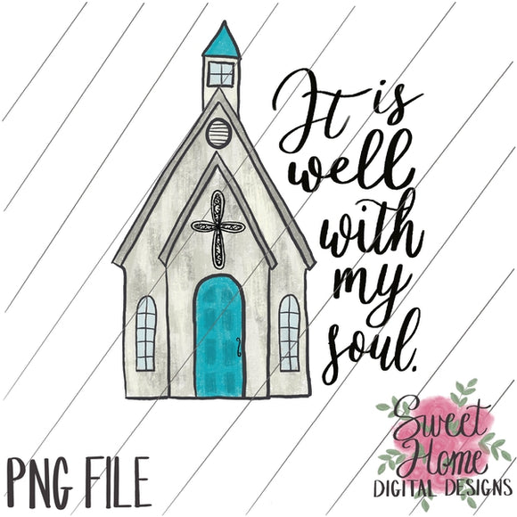It is Well with Vintage Chapel PNG Printable, Printable