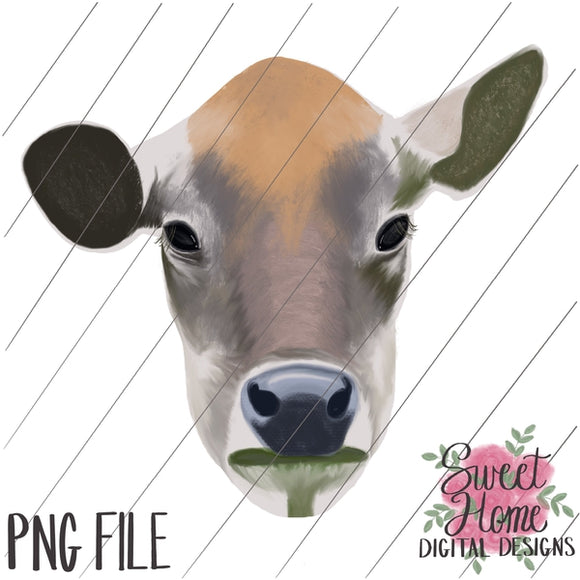 Realistic Cow Face Watercolor PNG Printable