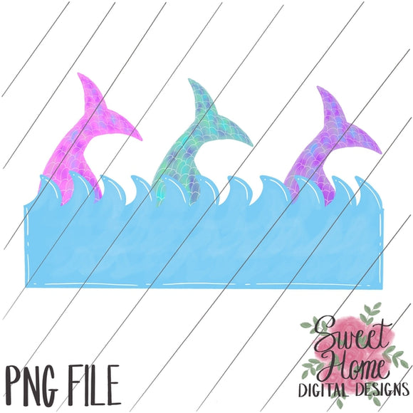 Mermaid Tails with Wave Banner PNG Printable, Printable