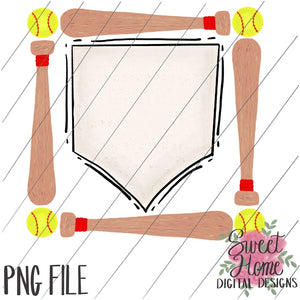 Bat and Softball Frame with Home Plate PNG Printable, Printable