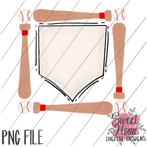 picture relating to Baseball Printable identify Bat and Baseball Body with House Plate PNG Printable