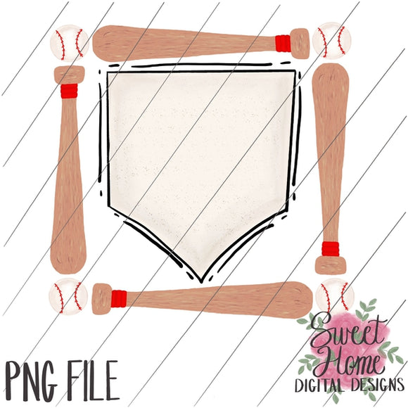 Bat and Baseball Frame with Home Plate PNG Printable, Printable