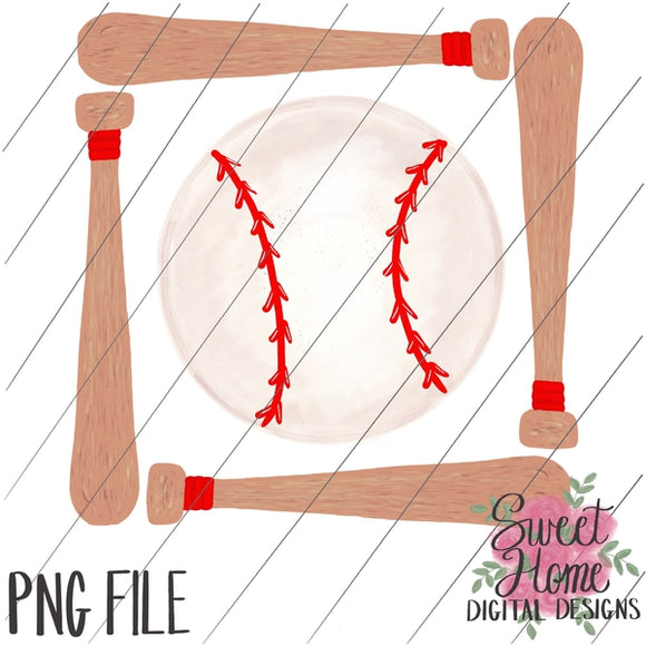 Bat Frame with Baseball PNG Printable
