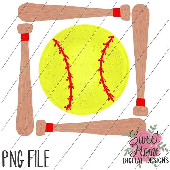 Bat Frame with Softball PNG Printable, Printable
