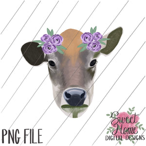 Realistic Cow Face with Floral Accent Watercolor PNG Printable