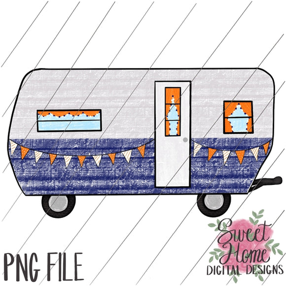 Vintage Tailgating Camper Navy and Orange PNG Printable, Printable