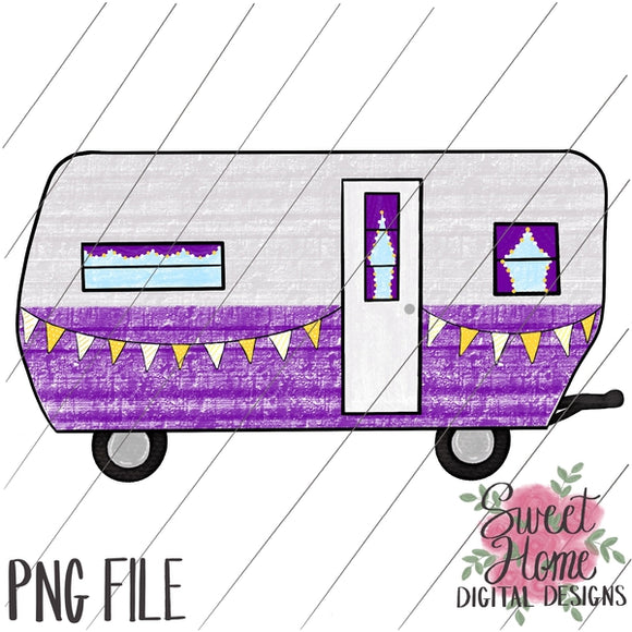 Vintage Tailgating Camper Purple and Gold PNG Printable