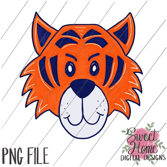 Tiger Face Navy and Orange PNG Printable, Printable