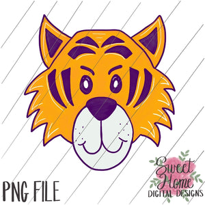 Tiger Face Purple and Gold PNG Printable, Printable