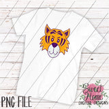 Tiger Face Purple and Gold PNG Printable