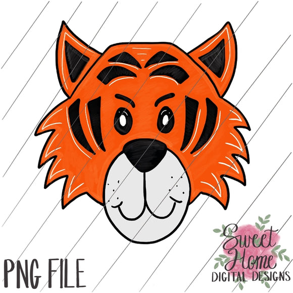 Tiger Face Black and Orange PNG Printable, Printable
