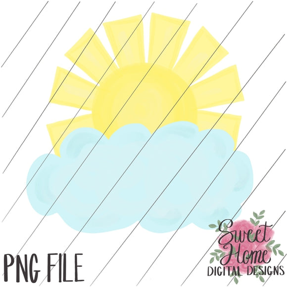 Sunshine with Cloud PNG Printable, Printable