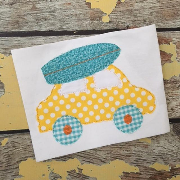 Car Surfboard Bean Stitch Applique Design, Applique