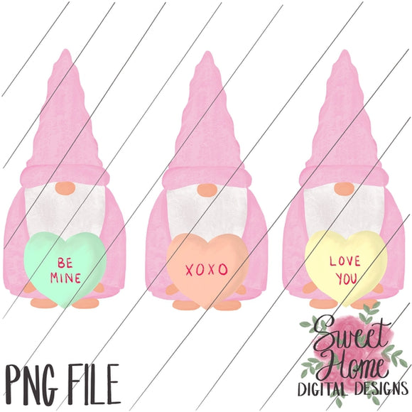 Valentine Gnomes with Conversation Hearts PNG Printable, Printable