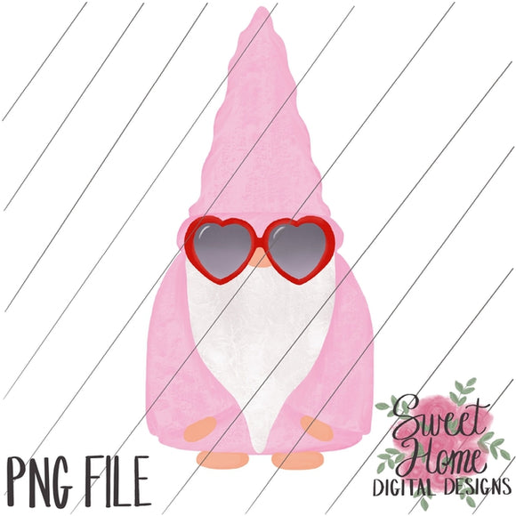 Valentine Gnome with Sunglasses PNG Printable, Printable