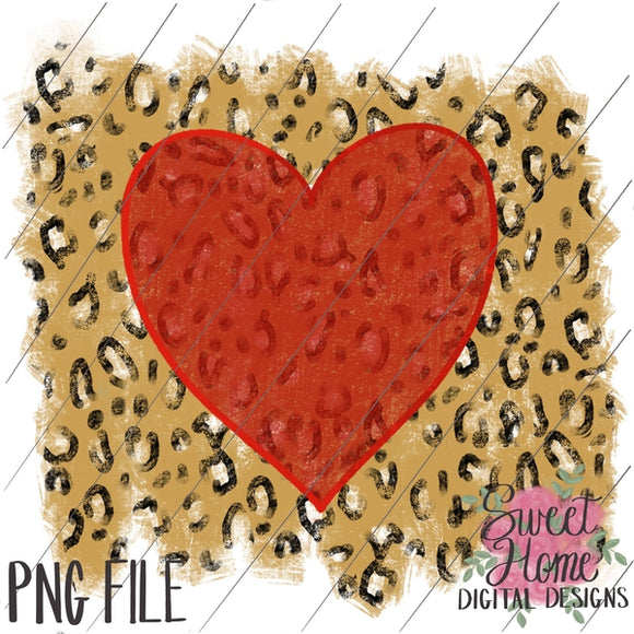 Vintage Heart Cheetah Distressed Background Valentine Design PNG Printable, Printable