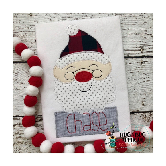Santa Glasses Zig Zag Stitch Applique Design, Applique