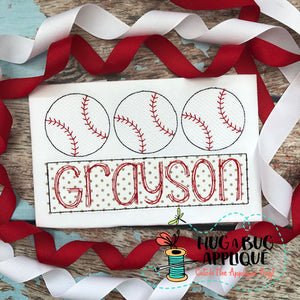 Baseball Trio Sketch Stitch Embroidery-Embroidery Boutique