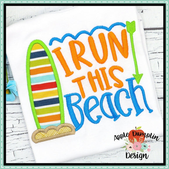 I Run this Beach Applique Design