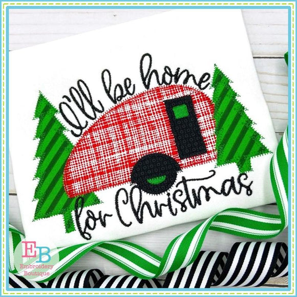 Camper Home For Christmas Applique, Applique