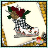 Christmas Ice Skate Bean Stitch Applique Design, Applique