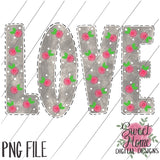 LOVE Gray Floral Dot Valentine Design PNG Printable, Printable