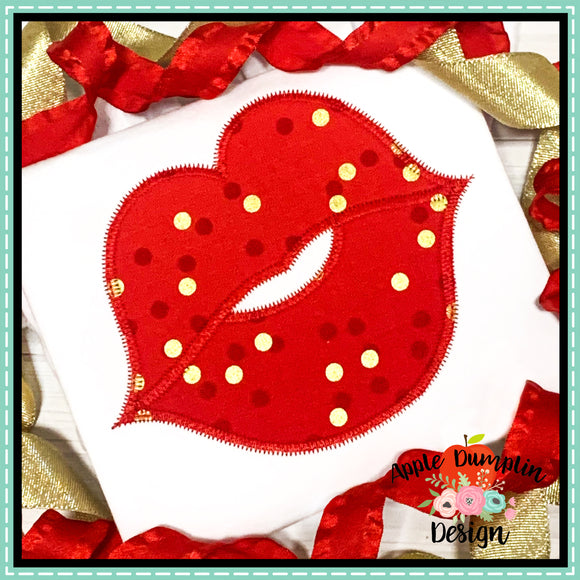 Lips Zigzag Applique Design, applique