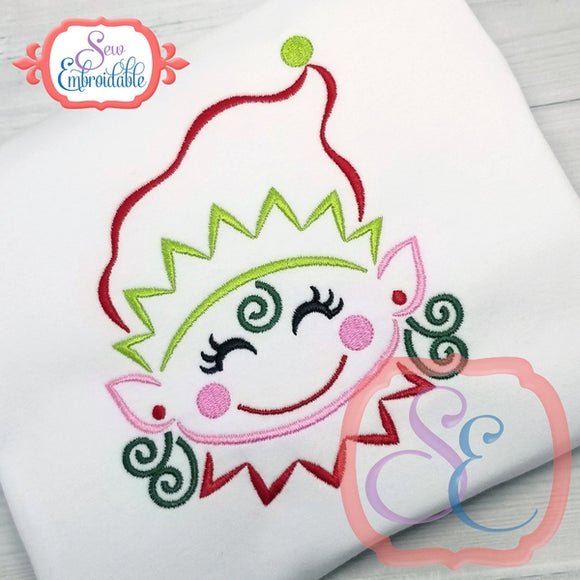 Little Elf Girl Outline - embroidery-boutique