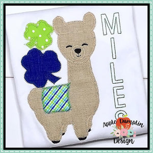 Shamrock Llama Boy Applique Design, applique