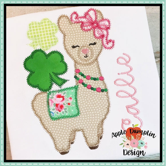 Shamrock Llama Girl Applique Design