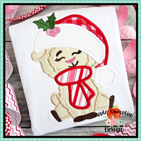 Llama with Santa Hat Girl Applique Design