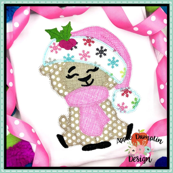 Llama with Santa Hat Girl Zigzag Applique Design