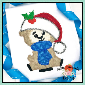 Llama with Santa Hat Zigzag Applique Design