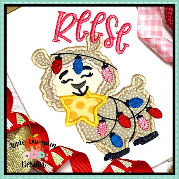 Llama with Star Girl Applique Design