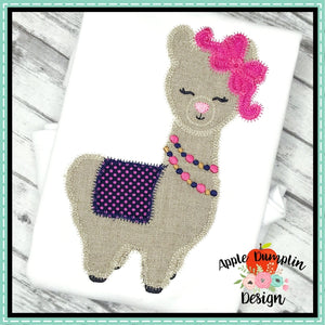 Llama with Bow Zigzag Applique Design - embroidery-boutique