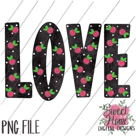 LOVE Black Floral Dot Valentine Design PNG Printable, Printable