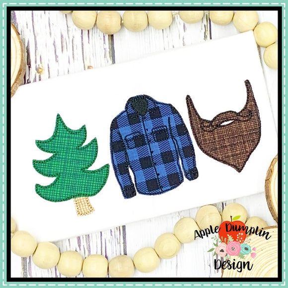 Lumberjack Trio Bean Stitch Applique Design