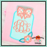 Mason Jar with Bow Applique Design, applique
