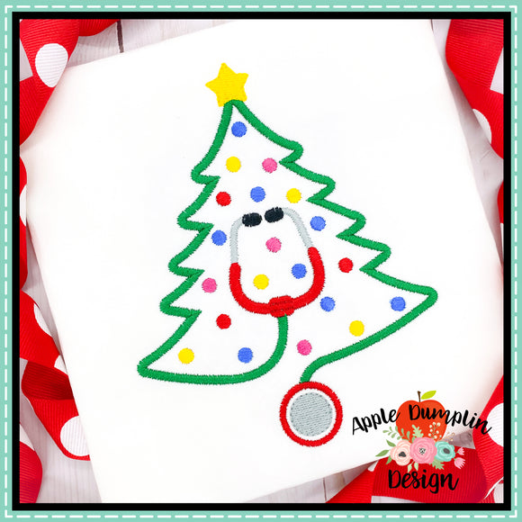 Stethoscope Christmas Tree Embroidery Design, Embroidery