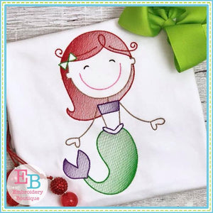Mermaid Sketch Design - embroidery-boutique