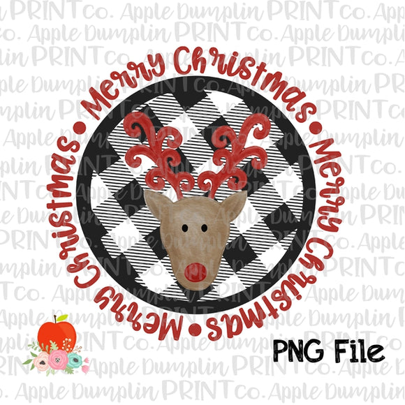 Merry Christmas Reindeer Printable Design PNG