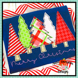Merry Christmas Trees Bean Stitch Applique  Design, Applique
