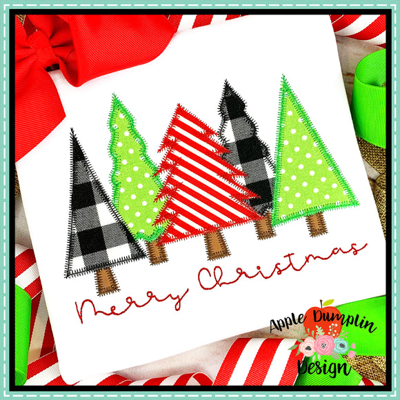 Merry Christmas Trees Zigzag Applique  Design, Applique